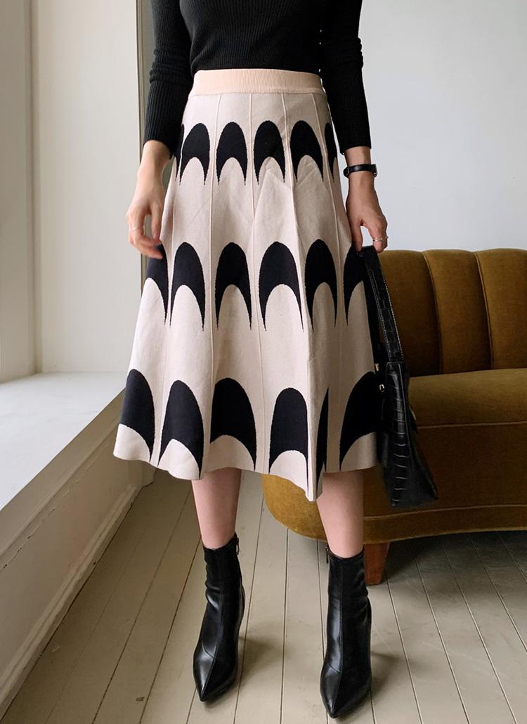 ユニークパターンニットスカート・全2色