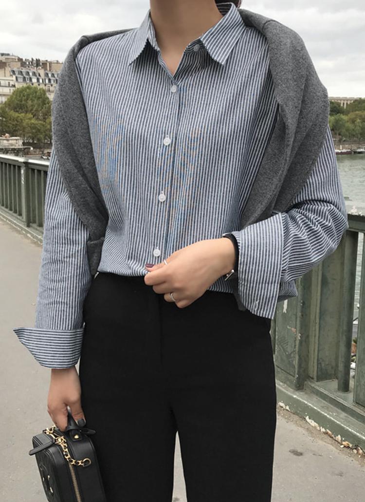 ストライプドロップショルダーシャツ