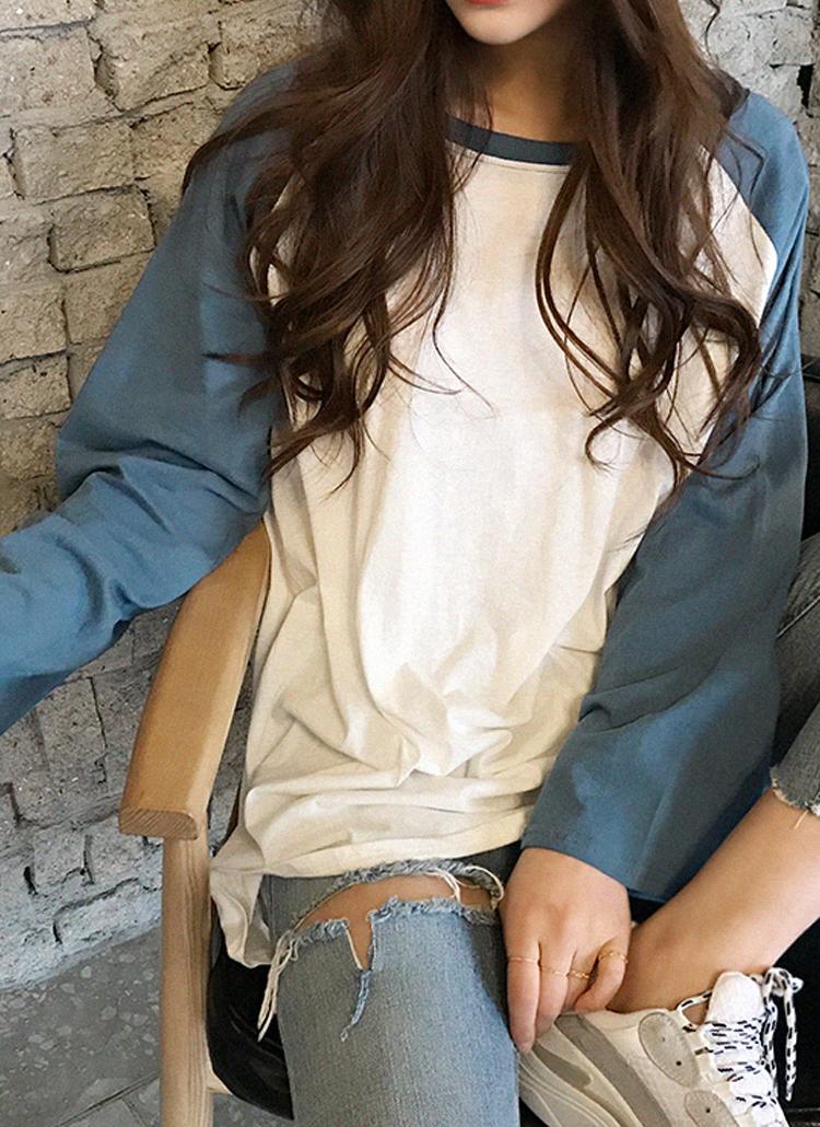 ルーズフィットラグランロングTシャツ
