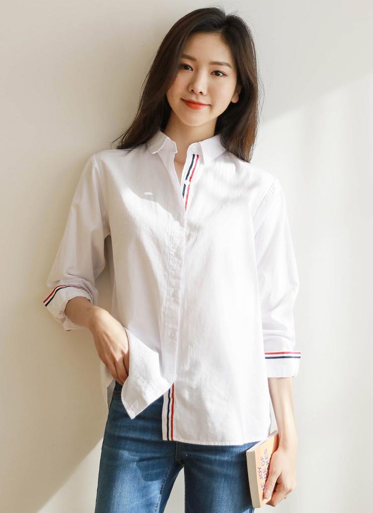 2TYPEトリコロールポイントシャツ