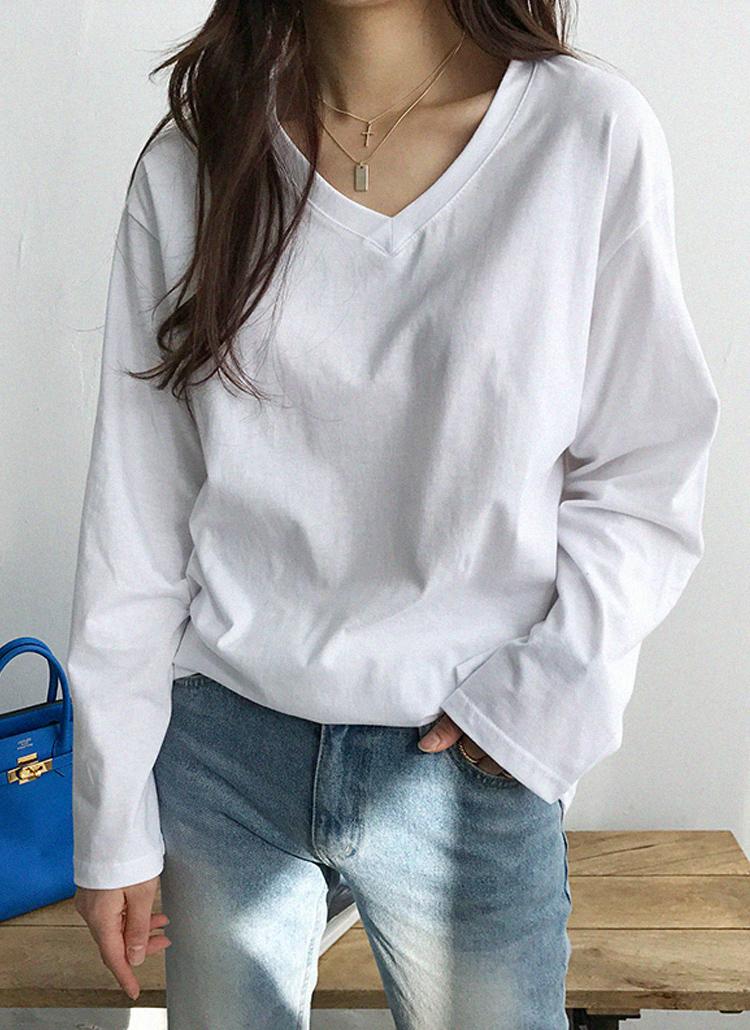 VネックボクシーフィットTシャツ