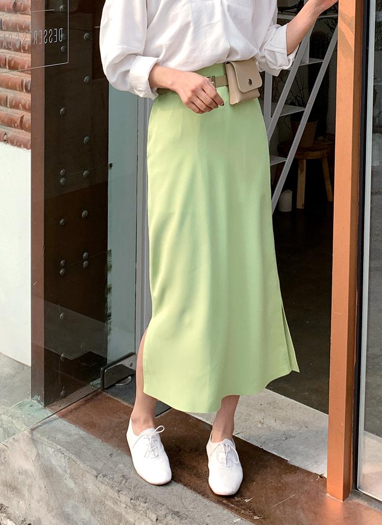 Hラインスリットロングスカート・全4色