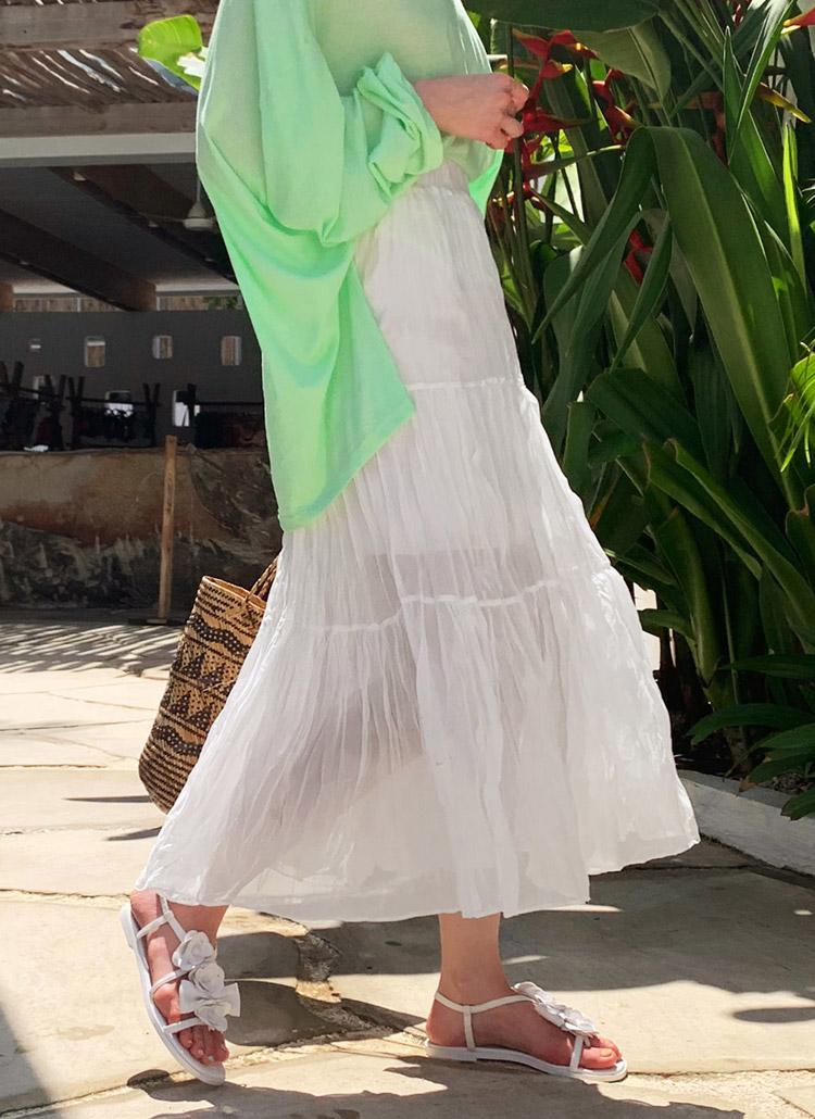 ホワイトリンクルロングスカート・全1色