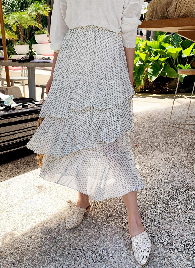 ペイズリーパターンティアードスカート・全2色