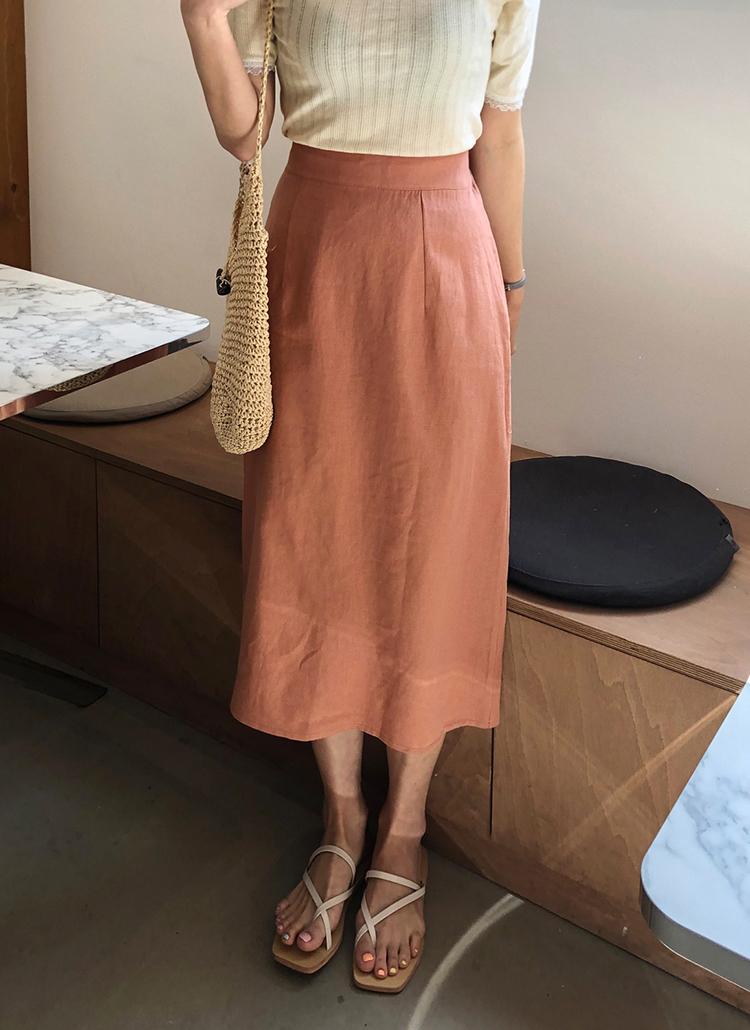 リネン混ペンシルラインスカート・全4色