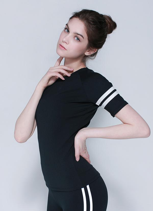 ダブルラインショートスリーブTシャツ(ブラック)
