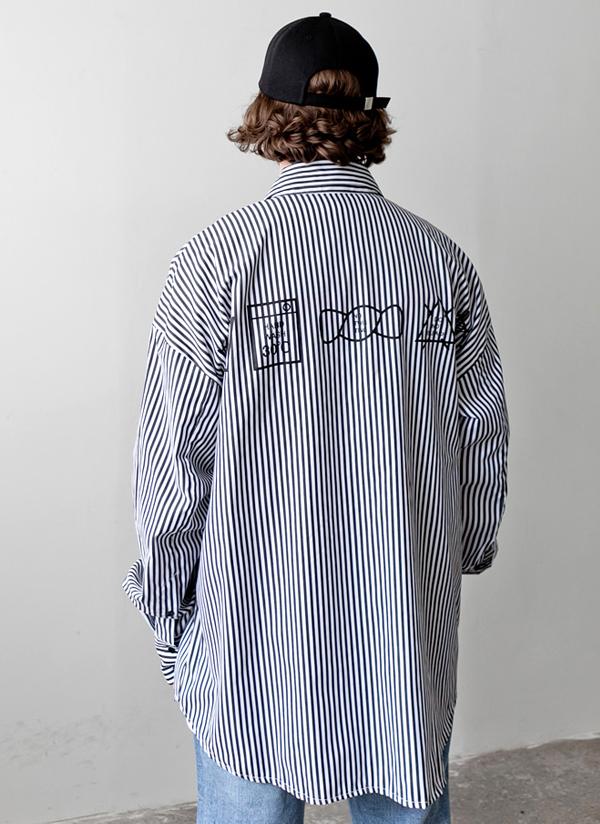 ケアタグストライプオーバーシャツ