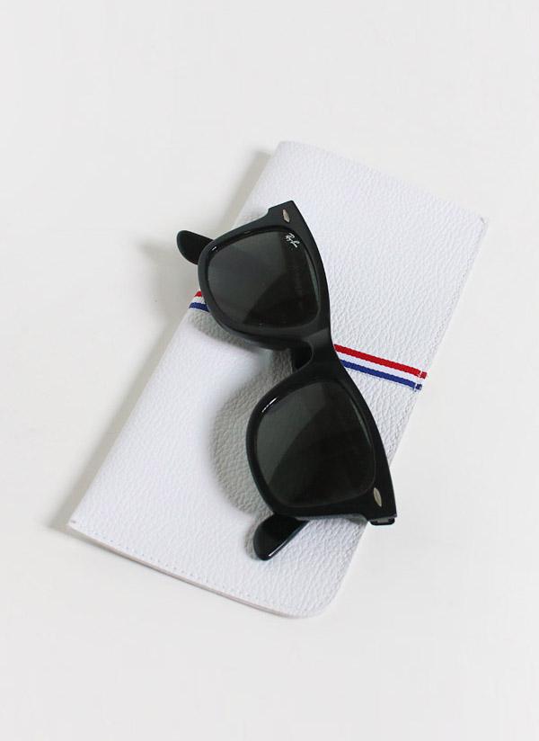 レザー調トリコロール眼鏡ケース