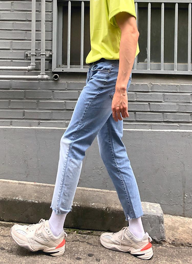 ユニーク配色スリムジーンズ