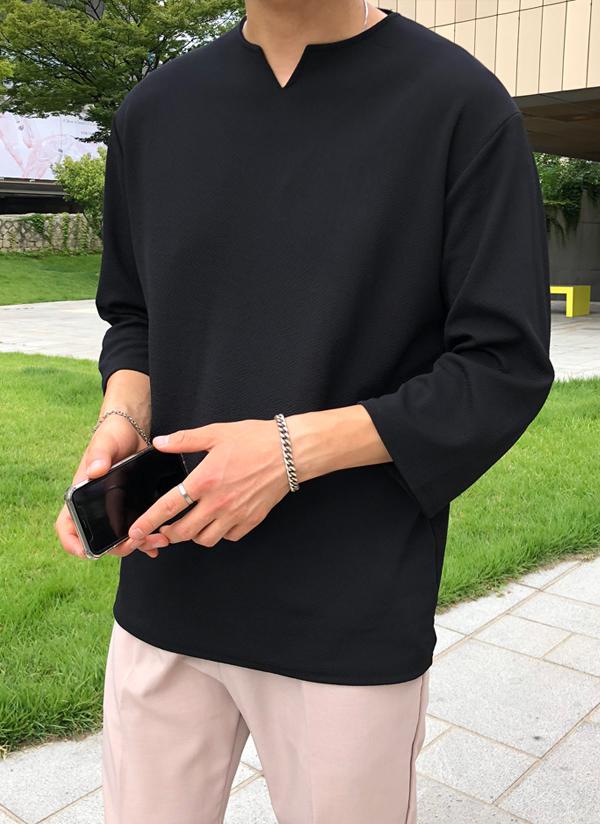 テクスチャーTシャツ(7分袖)