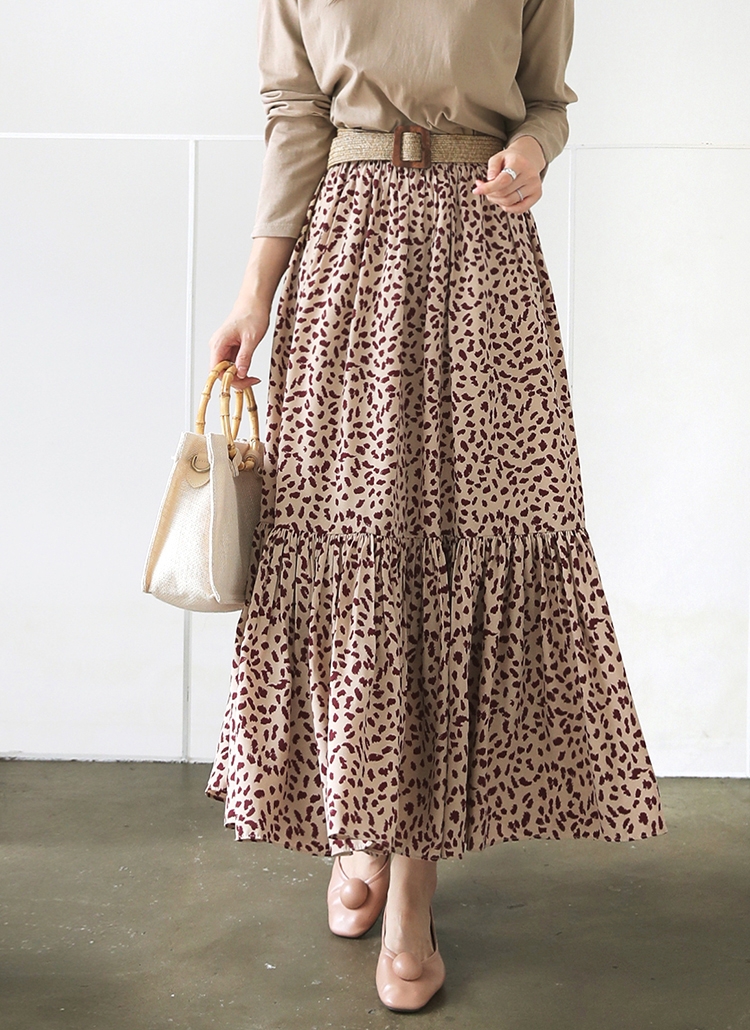 ギャザーレオパードスカート・全3色