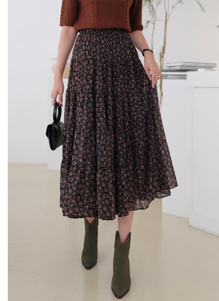 ギャザー花柄スカート・全2色