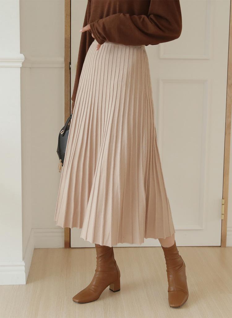 リブニットフレアスカート・全3色