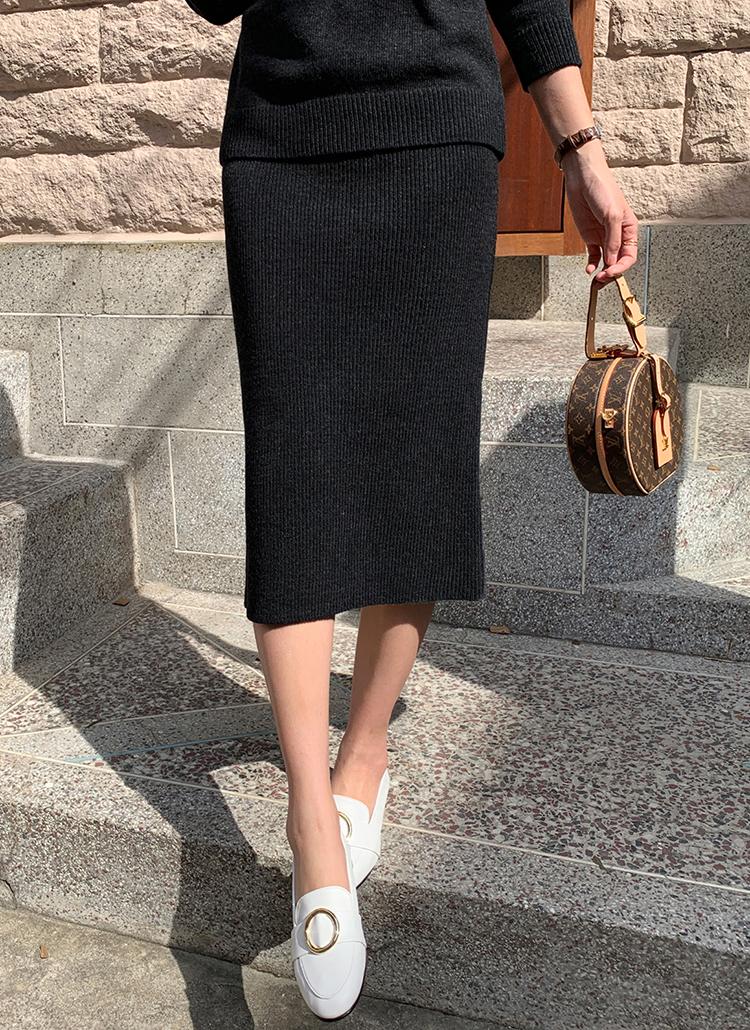 ウールブレンドニットスカート・全3色