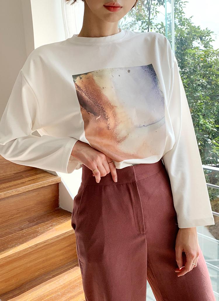 スクエアプリントTシャツ・全3色