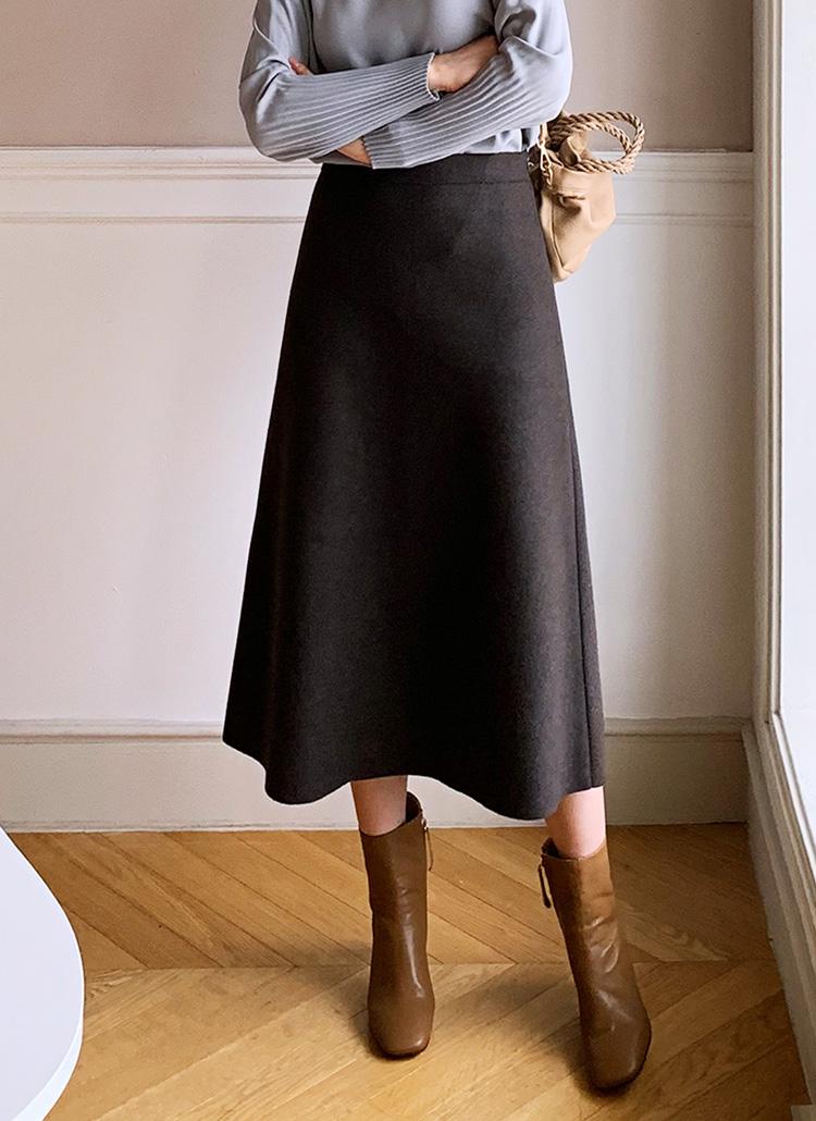 ウール混フレアスカート・全4色
