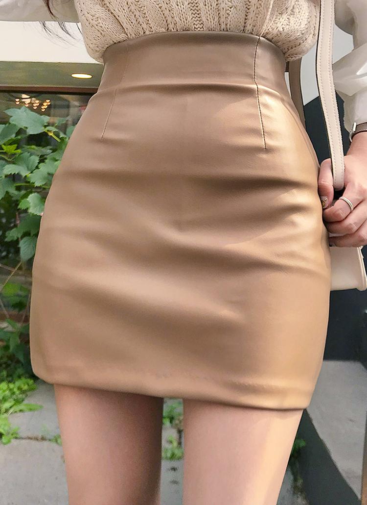 ベーシックフェイクレザーミニスカート