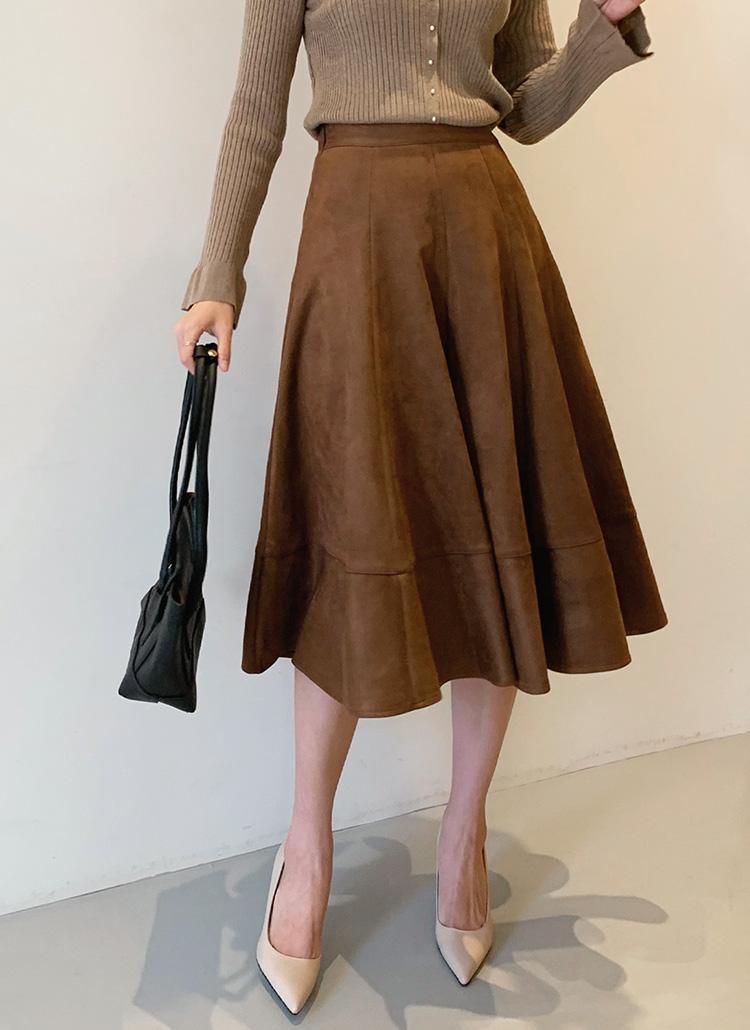 スエード調フレアスカート・全2色