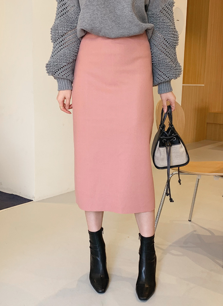 Hラインウール混スカート・全5色