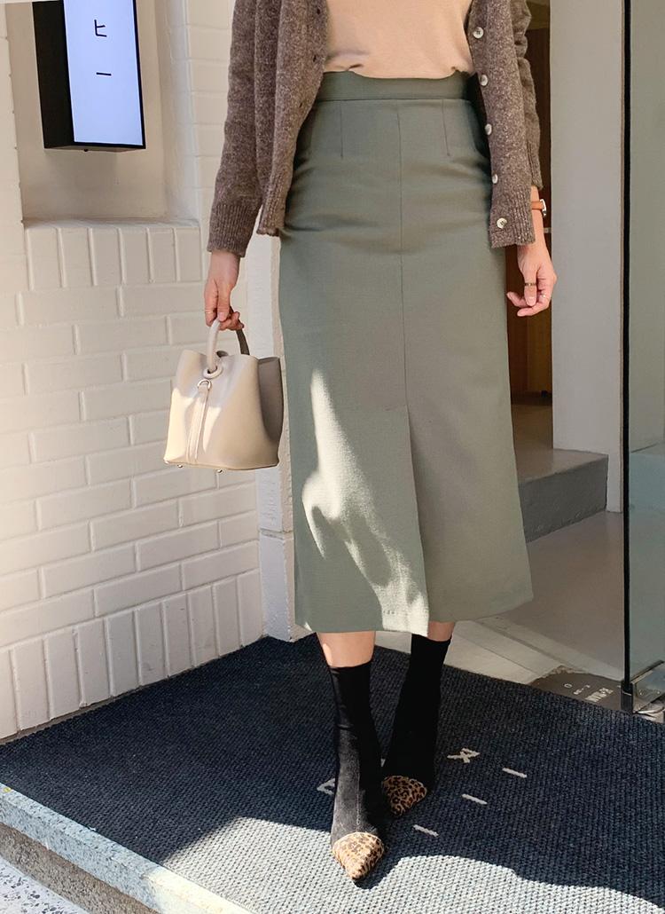 ウール混ロングスカート・全3色