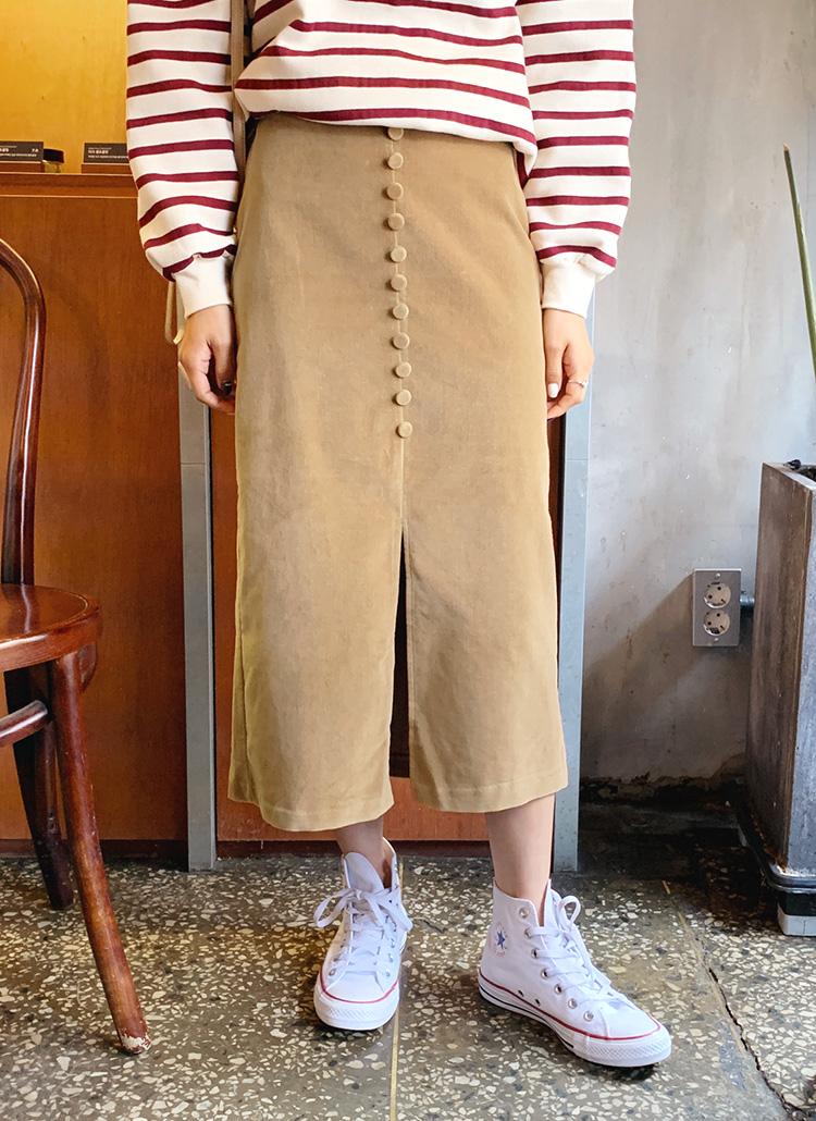 くるみボタンスリットスカート・全4色