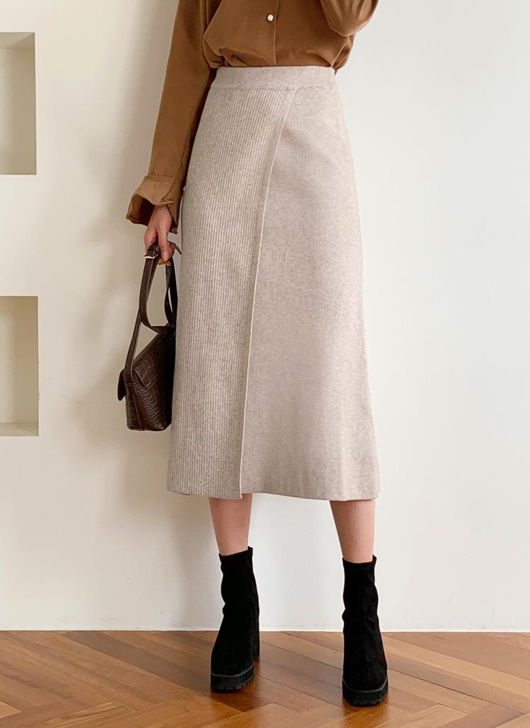 スリットリブニットスカート・全2色