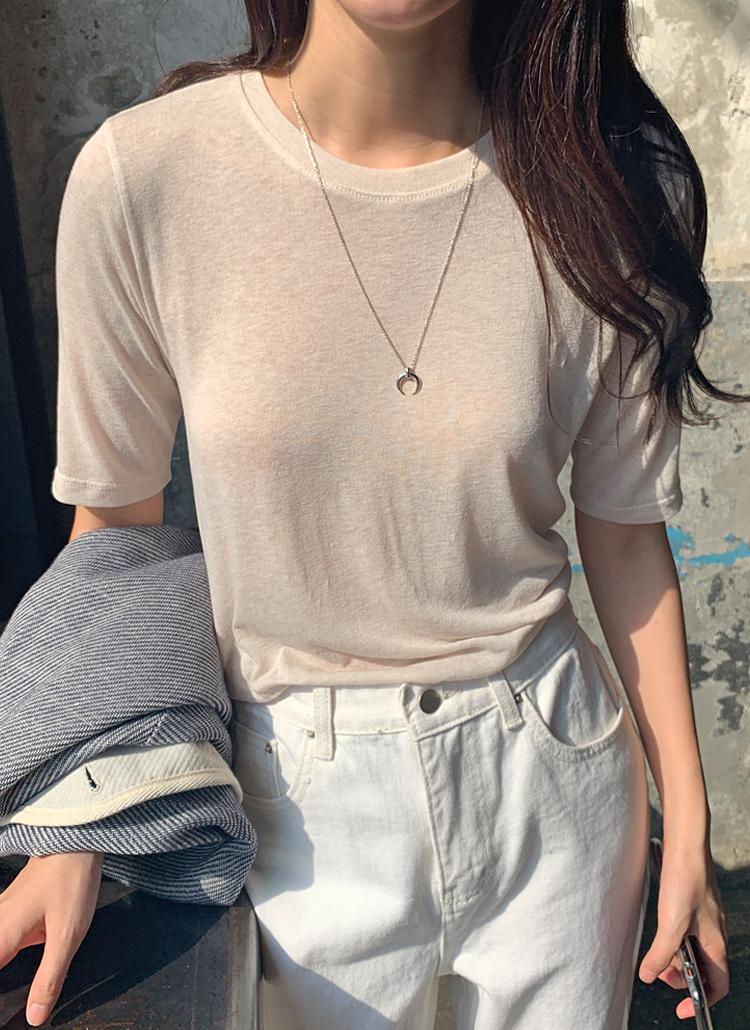 レーヨン混ストレッチ半袖Tシャツ