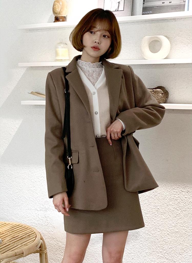 ウール混ミドルジャケット&ミニスカートSET・全3色