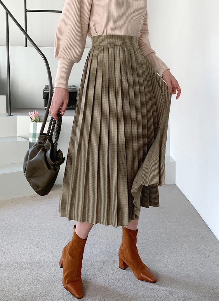 ラップチェックプリーツスカート・全2色