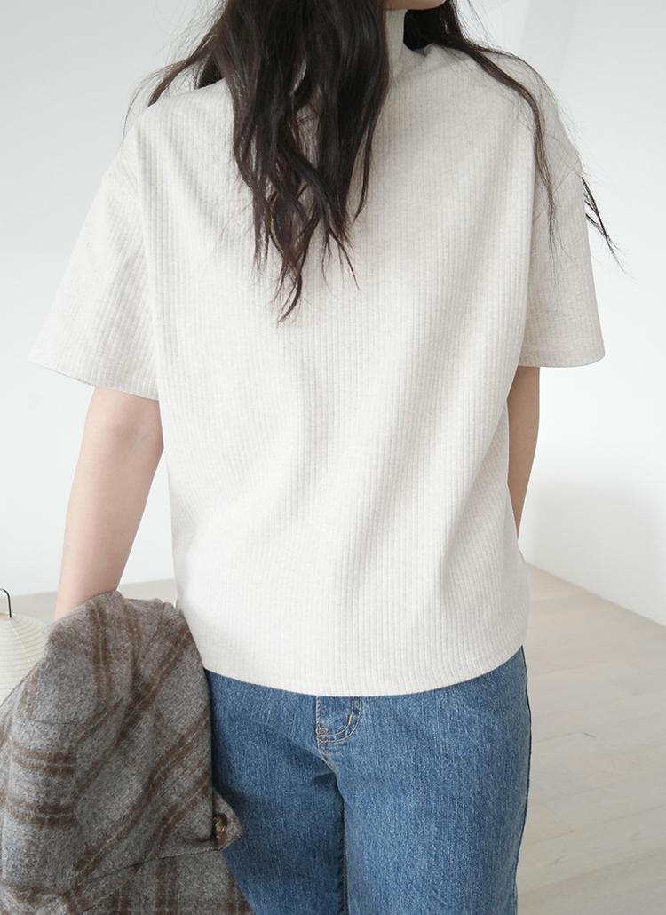 ハイネック半袖リブTシャツ