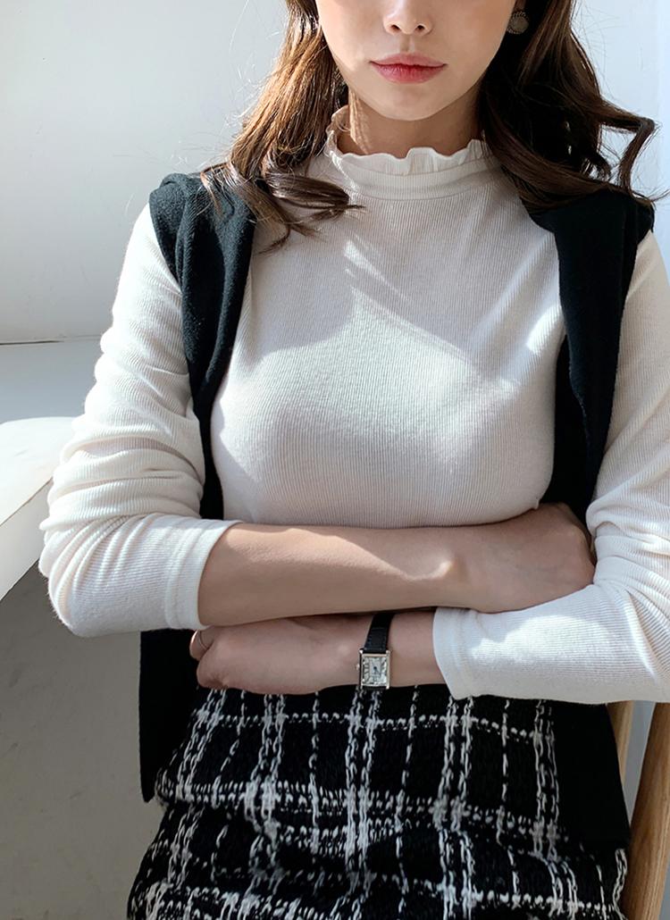 フリルネックリブTシャツ・全5色