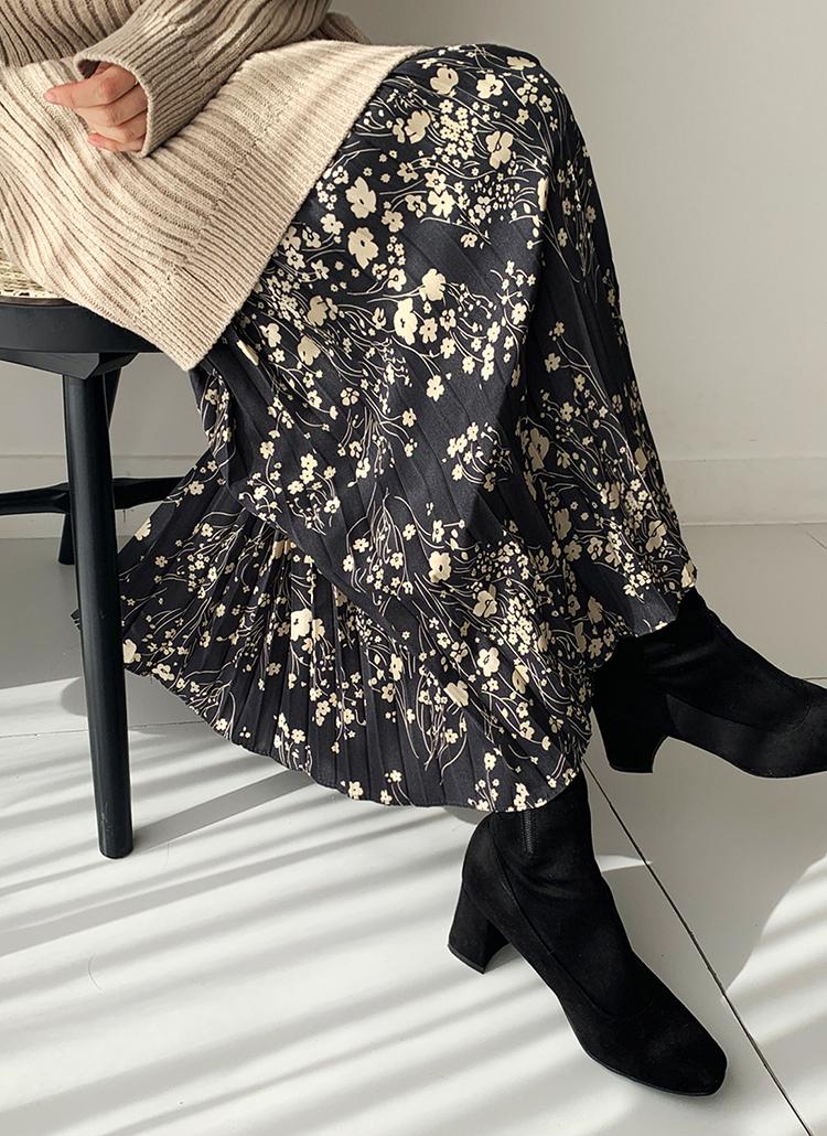 プリーツフローラルスカート・全2色