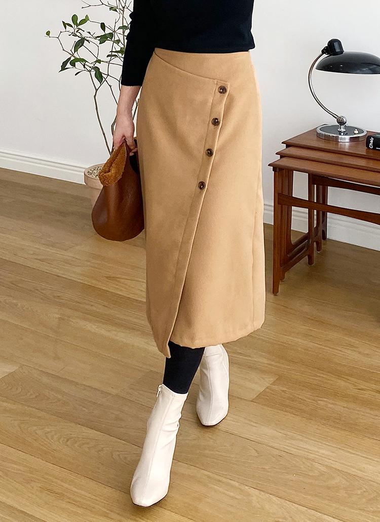 ボタンラップスカート・全2色