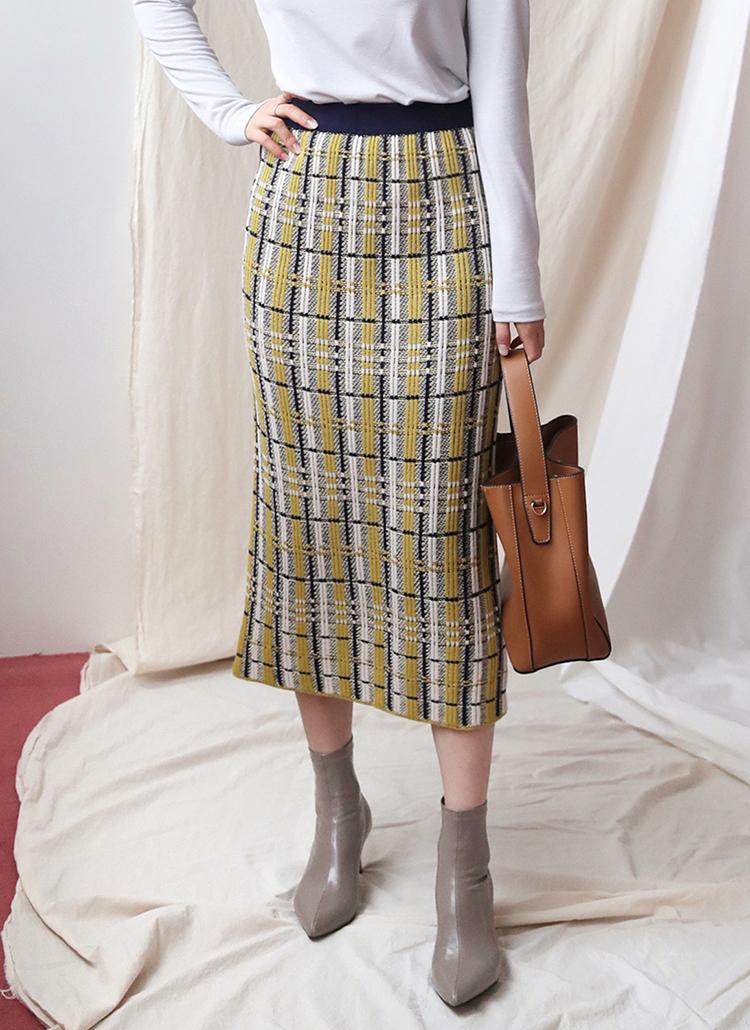 配色チェックニットスカート・全3色