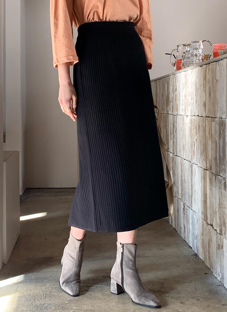 ボタンリブニットスカート・全2色