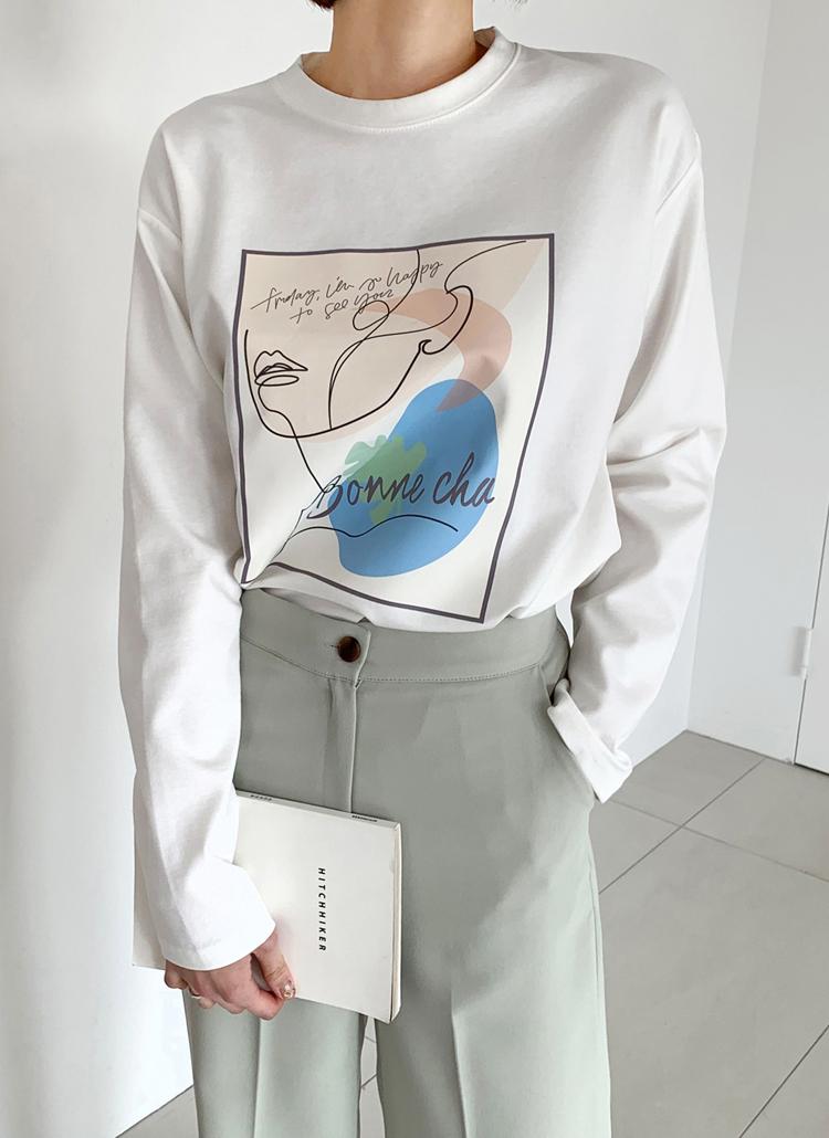 スクエアプリントTシャツ・全4色