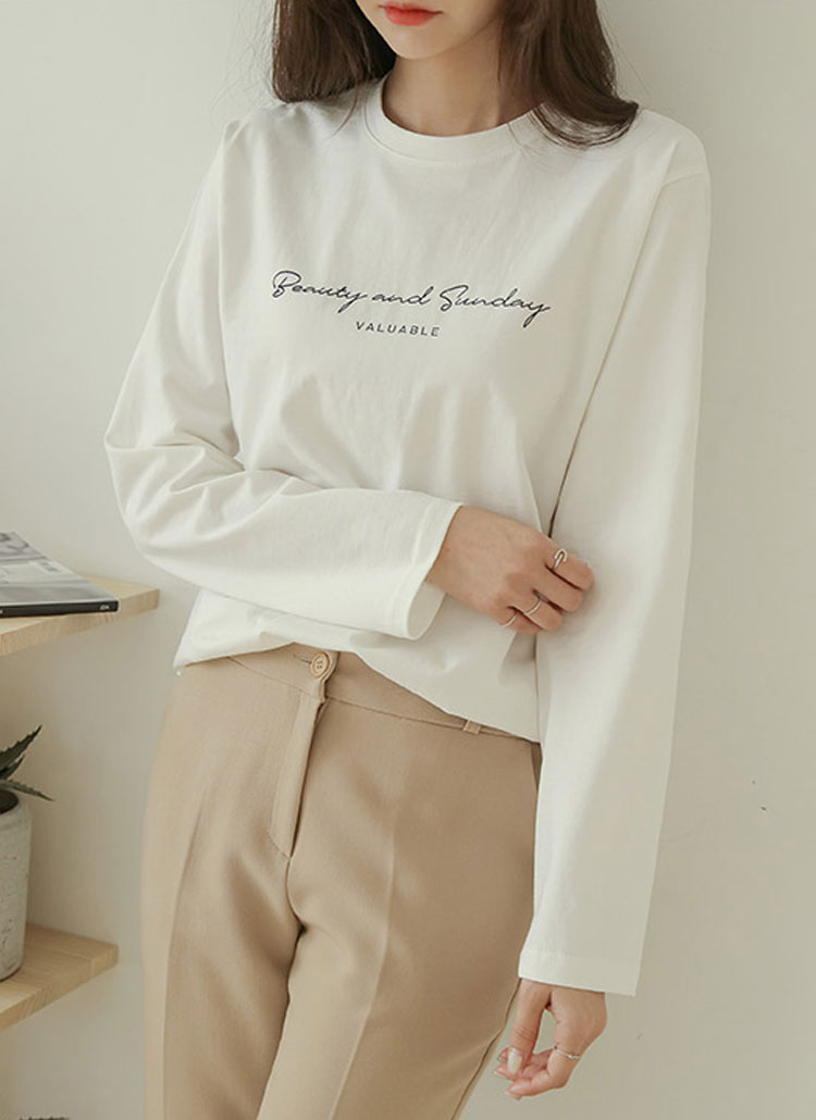 beautyレタリング長袖Tシャツ