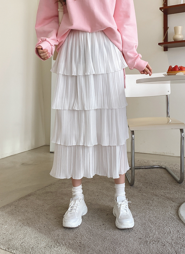 プリーツティアードロングスカート