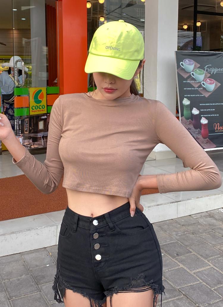 長袖クロップドTシャツ