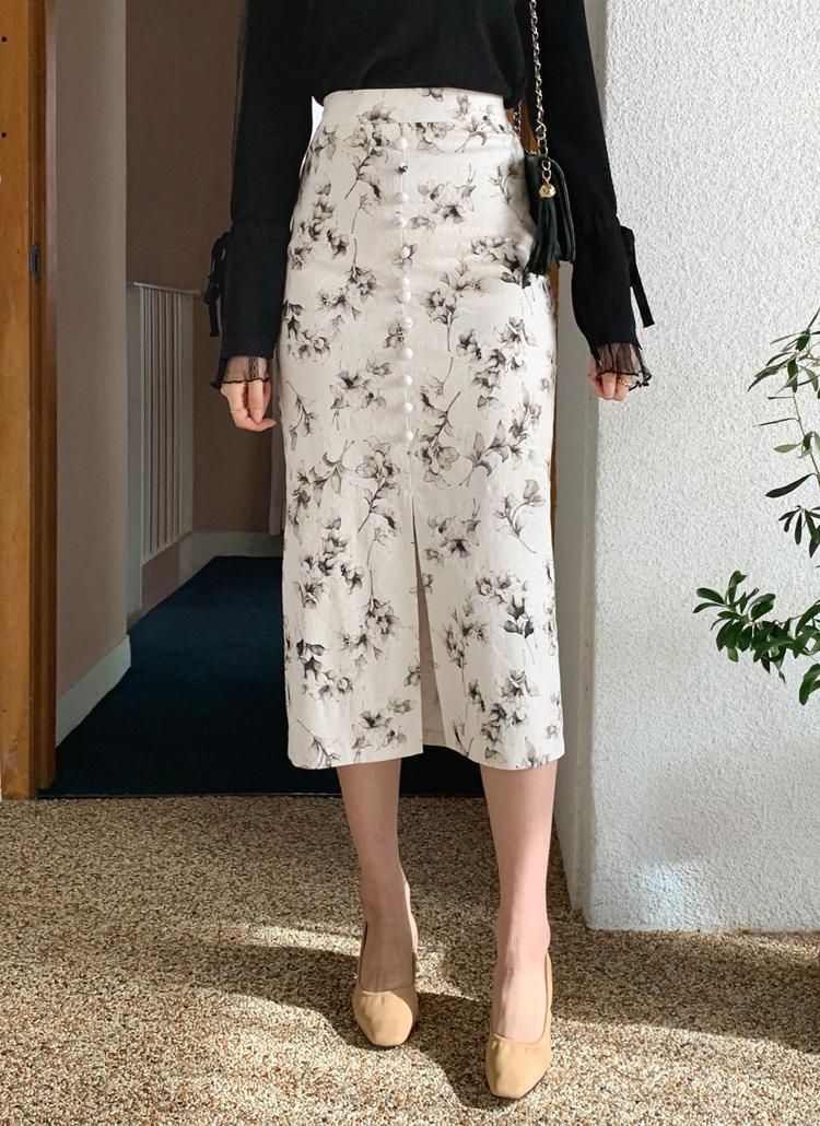 ボタンフローラルスカート・全3色
