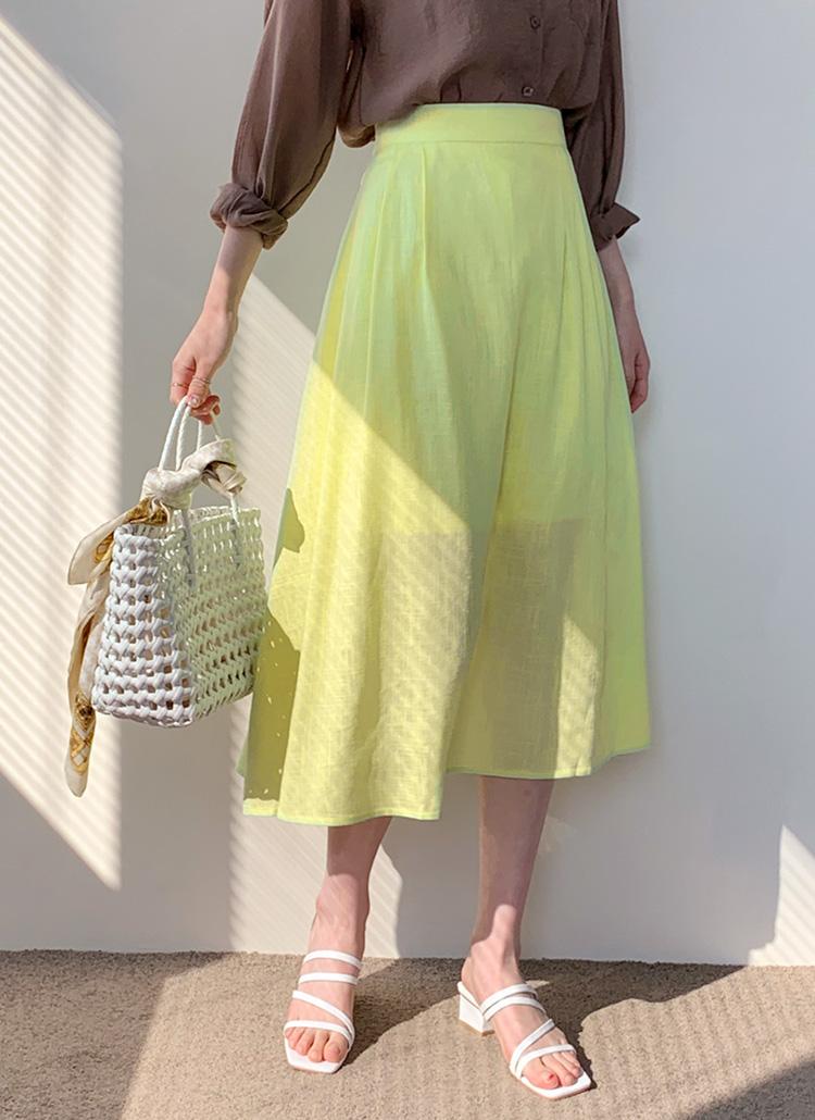 リネン混フレアスカート・全3色