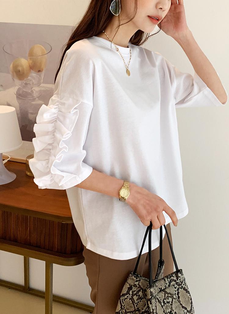 フリルスリーブTシャツ・全4色