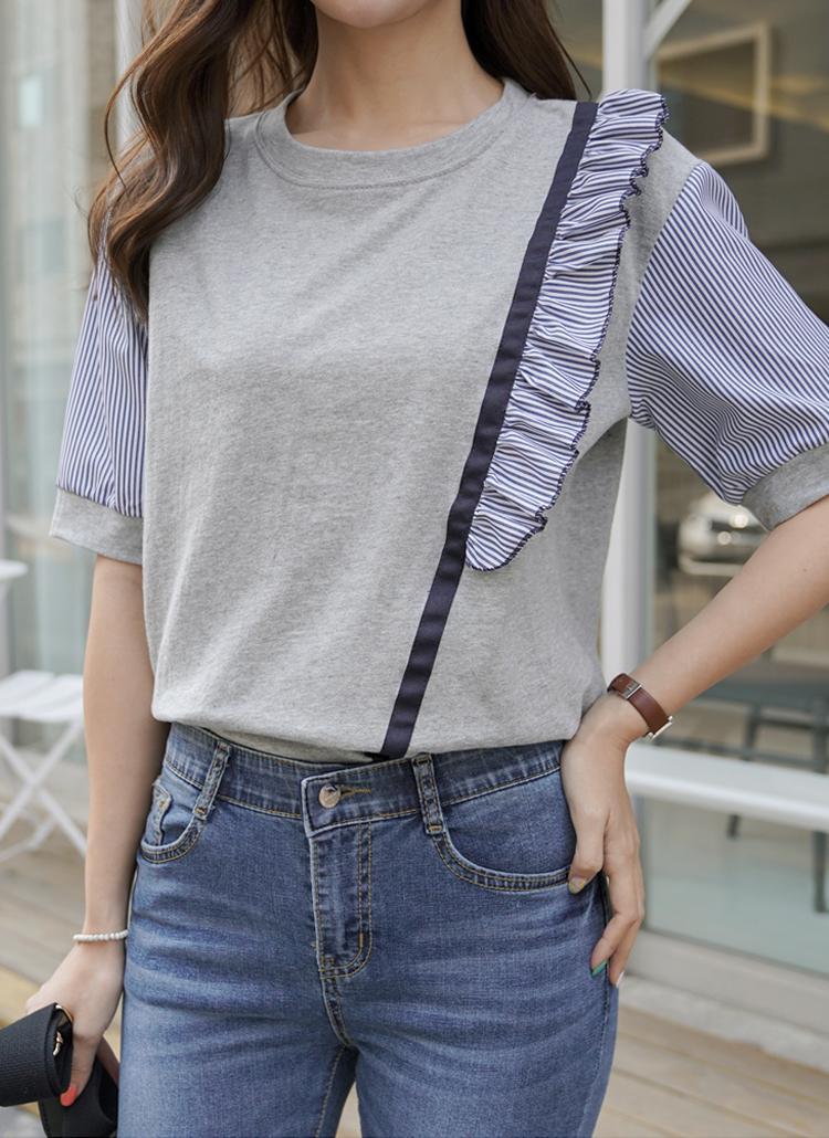 ストライプフリルラインTシャツ