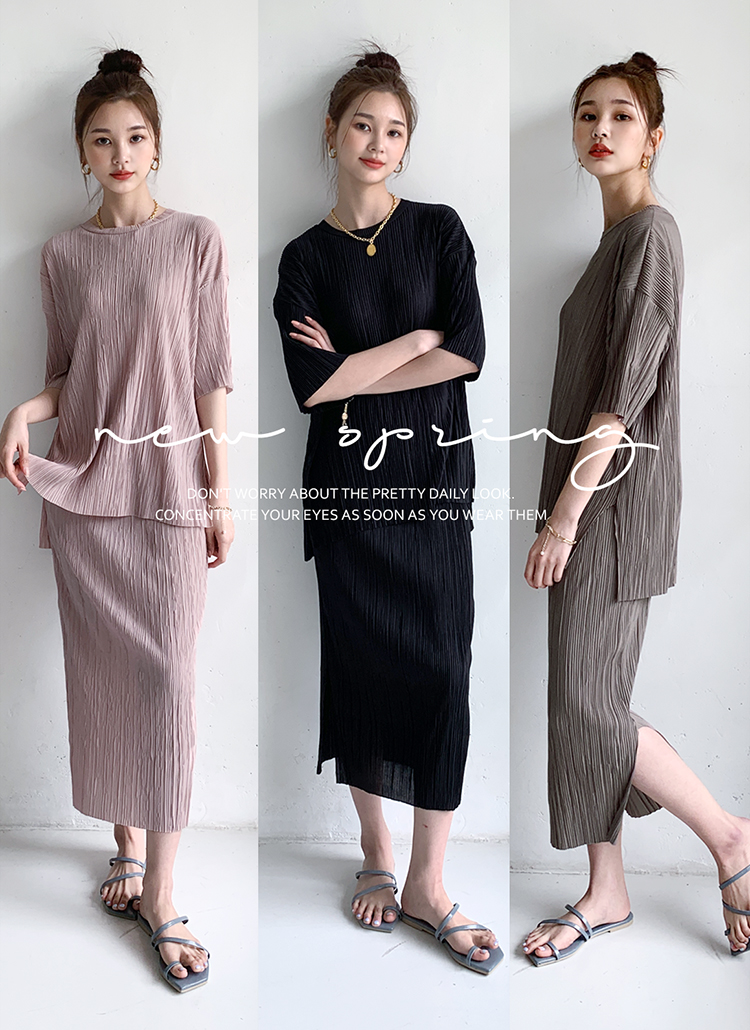 プリーツTシャツ&スカートSET・全4色