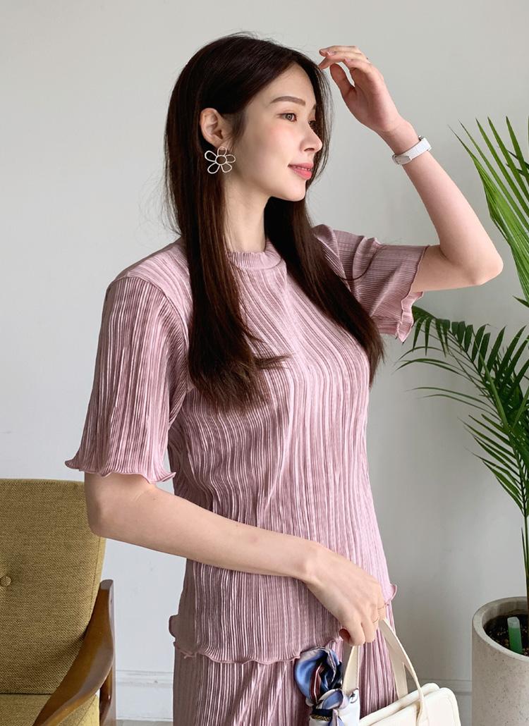 ウェーブプリーツTシャツ・全5色