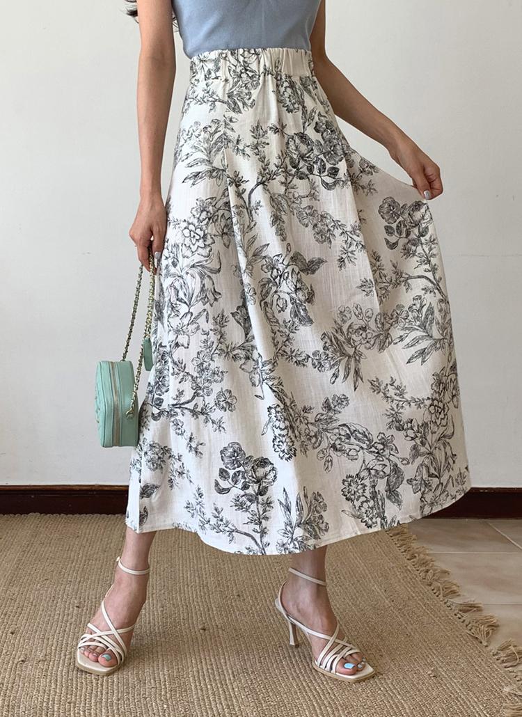 イージーフラワーパターンスカート・全2色