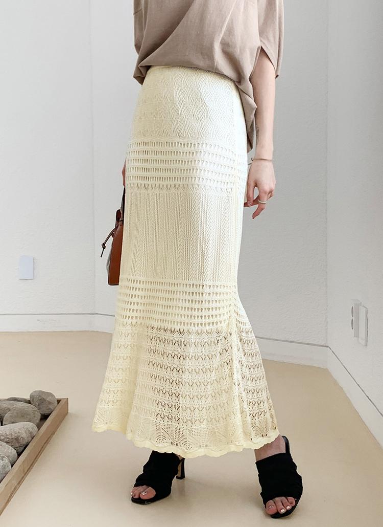 パンチングニットスカート・全3色