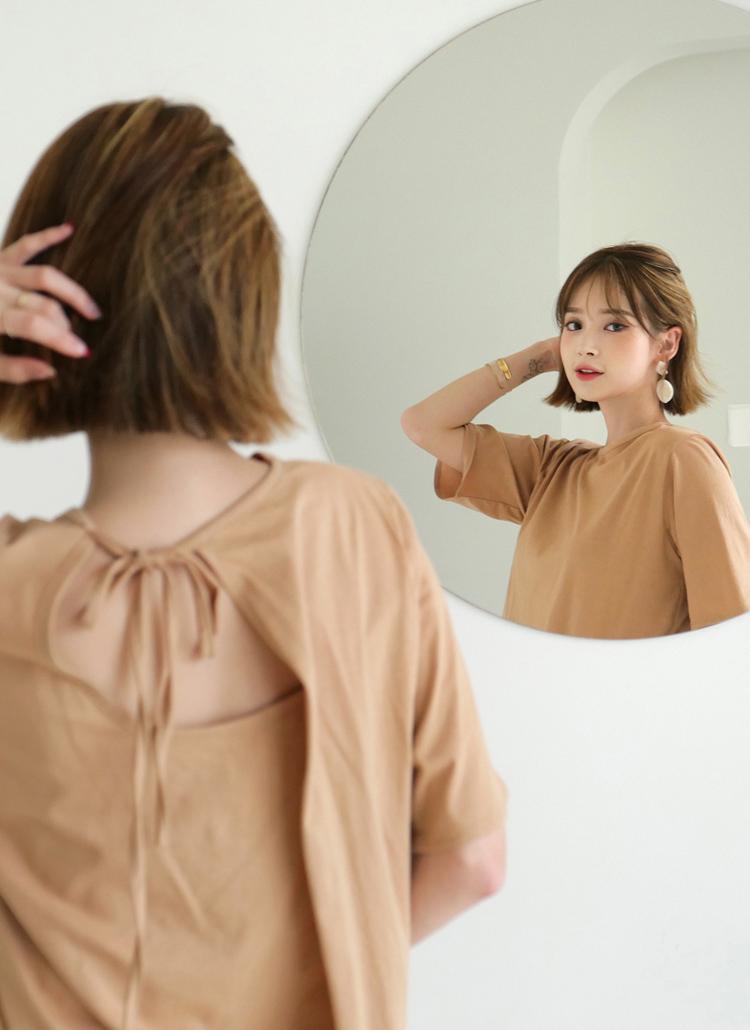 バックリボンTシャツ・全3色