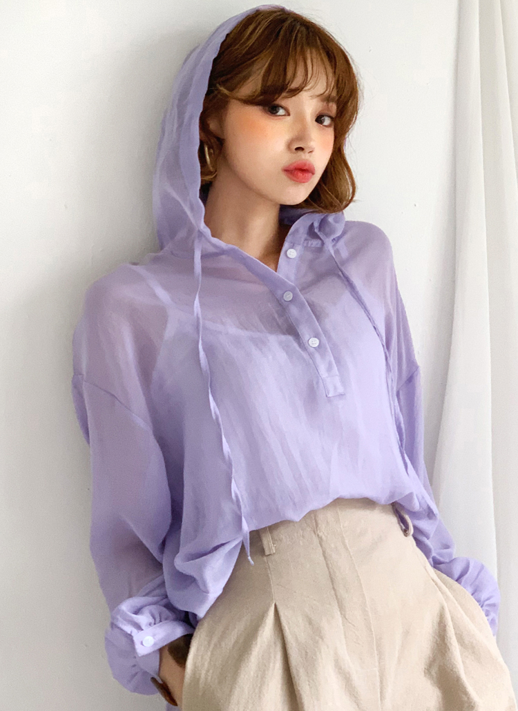 シアーフードシャツ・全3色