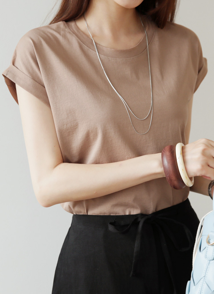 ロールアップスリーブTシャツ・全5色